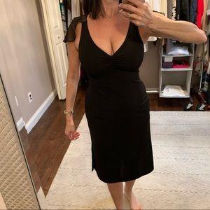 Ariella black flutter cap sleeve midi dress small